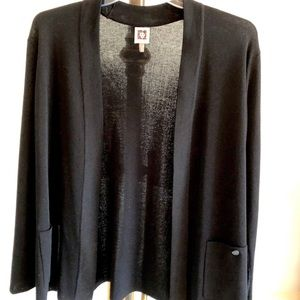 Ann Klein knit open cardigan with pockets